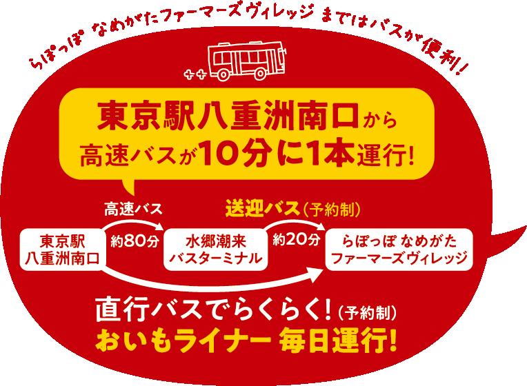 東京駅八重洲南口から高速バスが10分に1本運行!直通バスでらくらく!おいもライナー毎日運行!